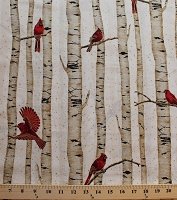 Cotton Woodsy Winter Cardinals Red Birds on Birch Trees Metallic Cotton Fabric Print by the Yard (L7325-20G-NATURAL-GOLD)