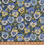 Cotton Pansies Pansy Flowers Flower on Periwinkle Bloom Floral Gardening Gardener Cotton Fabric Print by the Yard (02733-50-Florabunda)