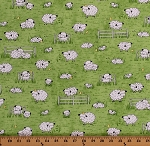 Cotton Sheep Lambs Sleeping Chicks Farm Animals Pasture Fences Sheeps & Peeps Green Cotton Fabric Print by the Yard (1649-25750-H)