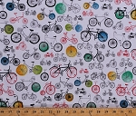 Cotton Bicycles Bike Cycling Unicycle Transportation Paris Adventure White Cotton Fabric Print by the Yard (AMZ-15997-205-MULTI)