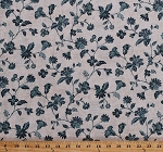 Cotton Blue Flowers Plants Leaves Stems Flower Floral Design Blooms Blossoms Garden Gardening Spring Summer White Blue Bower Beauties Cotton Fabric Print by the Yard (p0260-4105-b)