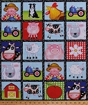 Cotton Farm Animals Squares Farmers Tractors Barns Sheep Dogs Chickens Roosters Cows Pigs Flowers Apple Tree Farm Kids Children's Cotton Fabric Print by the Yard (8841-070ltblue)
