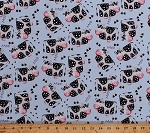 Cotton Cows Words Hoof Prints Tracks Dairy Farm Animals on Light Blue Apple Tree Farm Kids Children's Cotton Fabric Print by the Yard (8840-070ltblue)