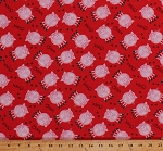 Cotton Pigs Words Sounds Noises Hooves Hoof Prints Tracks Farm Animals Kids Children's Red Apple Tree Farm Cotton Fabric Print by the Yard (8839-088RED)
