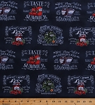 Cotton Homemade Jam Salsa Kitchen Garden Tomato Sauce Farm Fresh Food Canned Foods Fruits Vegetables Pickles Farmers Market Farming Blackboard Down on the Farm Navy Blue Cotton Fabric Print by the Yard (AWG-15771-9-NAVY)