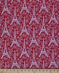 Cotton Eiffel Tower Paris France Red Floral Cotton Fabric Print by the Yard (c1248-roug)