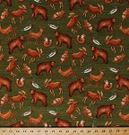 Cotton Woodland Animals Moose Mallard Ducks Bears Owls Deer Foxes Cabin Northwoods Forest Wildlife Wild Woods Green Cotton Fabric Print by the Yard (41120)
