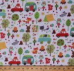 Cotton Camping Tents Trailers Campers Woodland Animals Trees Campfires Camp Out White Cotton Fabric Print by the Yard (CX6352-WHIT-D)