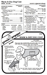 Warm & Dry Dog Coat Rain Gear #553 Sewing Pattern (Pattern Only)
