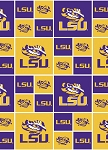 LSU Louisiana State University™ Tigers™ Cotton Fabric Print - slsu020s