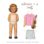 Sewing Pattern - Sizes 6M - 4 Children Kids Girls Music Class Blouse Shirt Top & Skirt Clothes Pattern by Oliver + S  (OS017MC1)