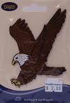 Wrights Soaring Eagle Birds of Prey Iron On Applique Badge Brown Appliques 2.25W x 2.5H inches (M211.08)