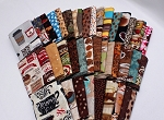 10 Fat Quarters - Coffee Cafe Au Late Mocha Espresso Latte Caffeine Coffee Shop Beans Cups Mugs Americano Assorted Quality Quilters Cotton Fabric M226.07