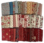 8 Fat Quarters - Moda French General France Calico Floral Flowers Red Pink Cream Classic Reproduction Quality Quilters Cotton Fabrics M229.01
