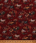 Cotton Roosters Chickens Hens Chicks Sunflowers Flowers Floral Barnyard Fowl Birds Farm Animals Country Red American Homestead Too Cotton Fabric Print by the Yard (CP37546)