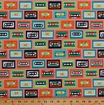 Cotton Mixtapes Cassettes Mix Tapes Music Green Orange Tapes on Pink Beatbox Retro Vintage Cotton Fabric Print by the Yard (AAK-14568-195-BRIGHT)