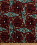 Cotton African Designs Circles Tribal Geometric Patterns Tessellations Shapes Squares Blocks Diamonds Dots Swirls Stripes Handprint-Look Africa Blue Red Cotton Fabric Print by the Yard (6162L-11K-Red)