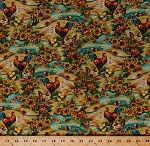 Cotton Chickens Roosters Hens Chicks Barnyard Fowl Birds Golden Fields Hills Sunflowers Apples Fall Autumn Harvest Time Pleasant Farm Brooke Scenic Landscape Floral Cotton Fabric Print by the Yard (J7024-329)