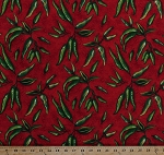 Cotton Peppers Green Chili Peppers Serrano Hot Spicy Foods Mexican Food Cooking Kitchen Vegetables Garden Salsa Picante Red Cotton Fabric Print by the Yard (3213)