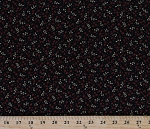Cotton Kim Schaefer Moxie Red Flowers Leaf Sprigs on Black Botanical Floral Cotton Fabric Print by the Yard (5032)