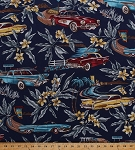 Cotton Vintage Cars Corvettes Thunderbirds Malibu Tropical Hawaiian Flowers Leaves Palm Trees Beaches Summer Vacation Mel's Drive-In Classic Cars Road Travel Transportation Navy Blue Cotton Fabric Print by the Yard (BBKC815-19)