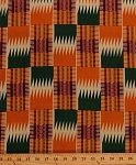Cotton African Designs Tribal Geometric Rectangles Patch Squares Zigzags Stripes Checkers Orange Red Green Handprint-Look Africa Cotton Fabric Print by the Yard (6250L-12K-orange)