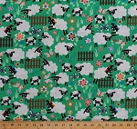 Cotton Happy Sheep Lambs Flock Pasture Meadow Flowers Grass Fence Farm Animals Butterflies Animal Treats Country Green Cotton Fabric Print by the Yard (J3200-GREEN)