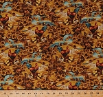Cotton Chickens Roosters Hens Chicks Barnyard Fowl Birds Golden Fields Hills Sunflowers Apples Fall Autumn Harvest Time Pleasant Farm Buttercup Scenic Cotton Fabric Print by the Yard (J7024-471)