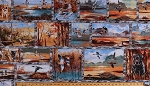 Cotton Duck Hunting Dogs Labradors Golden Retrievers Ducks Birds Animals Nature Wildlife Outdoors Pond Trees Woods Forest Lake Sunset Scenic Frames Landscape Fall Autumn Hunters First Light Sampler Cotton Fabric Print by the Yard (64002-945S)