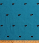 Corduroy Embroidered Brown Dogs on Blue Fabric By the Yard (82309-31900)