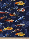 Racing Cars Hot Rods Dragsters Retro Race Funny Vintage Car Rayon Fabric Print By the Yard (M726.02)