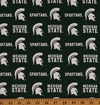 Cotton Blend Duck Michigan State University Spartans Duck Fabric Print by the Yard (MIST-250)