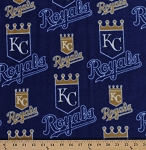 Fleece Kansas City Royals MLB Baseball Sports Team Fleece Fabric Print by the Yard - Blue