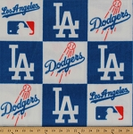 Fleece Los Angeles Dodgers Square MLB Baseball Fleece Fabric Print by the Yard