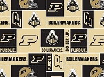 Purdue University Boilermakers College Fleece Fabric Print