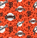 Fleece San Francisco Giants Orange MLB Baseball Fleece Fabric Print By the Yard (s6627bf)