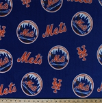 Fleece New York Mets Blue MLB Baseball Fleece Fabric Print (s6674bf)