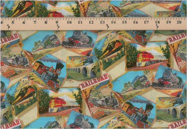 All aboard railroad trains on cream cotton fabric print for Train print fabric