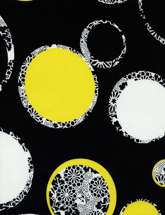 Cotton Large Circles Rings Yellow Black White Flowers Floral ...