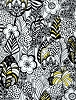 Cotton Trees Flowers Leaf Leaves Packed Floral Botanical Gardens Sketches Creative Black White Yellow Alice Kennedy Taxi Cotton Fabric Print by the Yard (Trio-C4062-white)