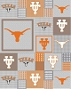 University of Texas Longhorns Grey Patchwork College Micro Fleece Fabric Print