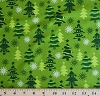 Christmas Trees Pines Firs Holiday Green Festive O Tinsel Tree Cotton Fabric By the Yard (AMF-11172-7 GREEN)