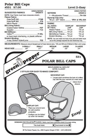 Polar Bills Cap Hat Headgear 531 Sewing Pattern Pattern