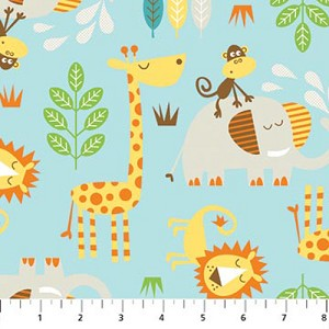 Cotton lion monkey giraffe elephant leaves branches safari for Childrens jungle print fabric