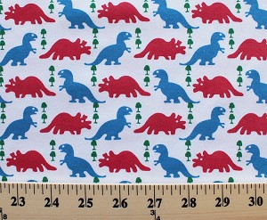 Cotton blend jersey knit dinosaurs trees kids fabric by for Space dye knit fabric by the yard