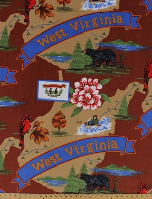 The Mountain State of West Virginia Tourism Tourist Map Print Fleece Fabric Print by the Yard (state-wv)
