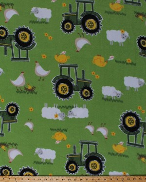 Fleece John Deere Tractors Tractor Chickens Chicken Sheep on Green Farmer Farmland Country Fleece Fabric Print by the Yard (54809-6470710s)
