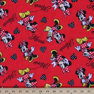 Flannel minnie mouse shopping disney red kids cotton for Kids print fabric