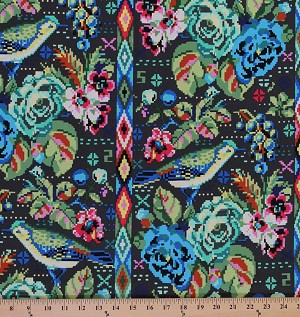 Cotton amy butler hapi celestial pixilated birds bird for Celestial fabric by the yard