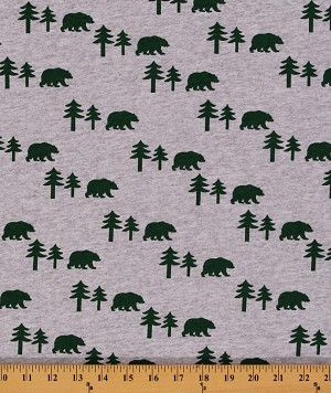 "60"" Cotton Blend Lightweight Jersey Knit Bears Bear Pine Trees Tree Green Gray Knit Fabric By the Yard (2494F-6N)"